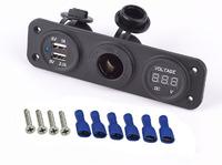 Розетка 12 Вольт + USB + вольтметр + кнопка